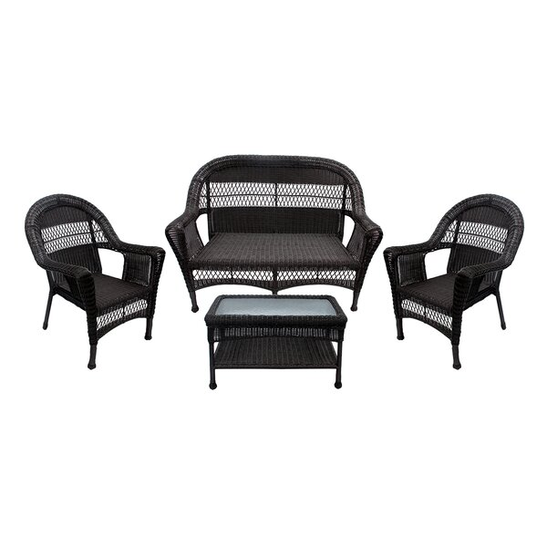 4 Piece Rattan Sofa Seating Group by LB International