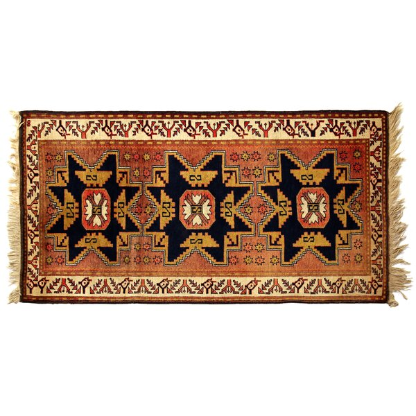 One-of-a-Kind Hand-Woven Wool Black/Ivory Area Rug by Exquisite Rugs