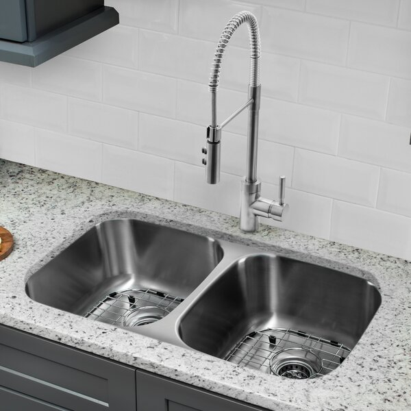 32 L x 19 W Double Basin Undermount Kitchen Sink with Faucet and Soap Dispenser by Cahaba