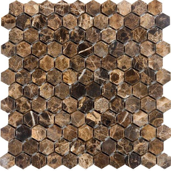Hexagon Marble Mosaic Tile in Emperador Dark by Epoch Architectural Surfaces