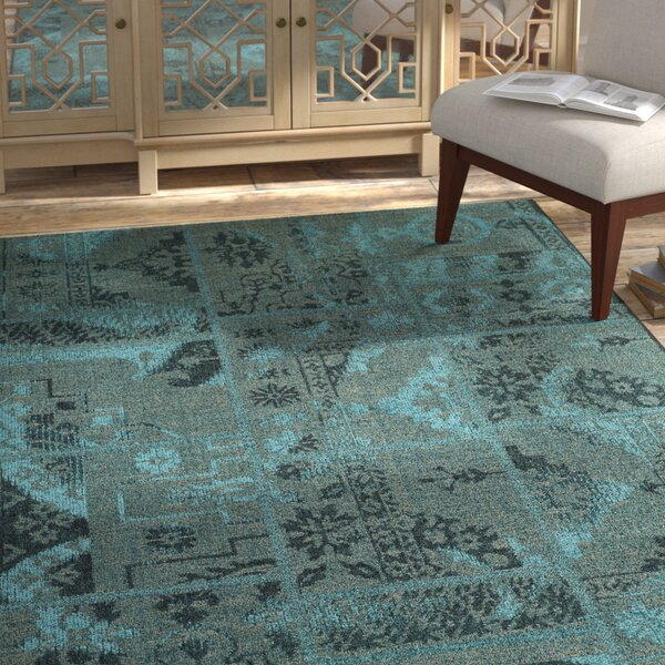 Port Laguerre Black/Turquoise Velvety Area Rug by Bungalow Rose