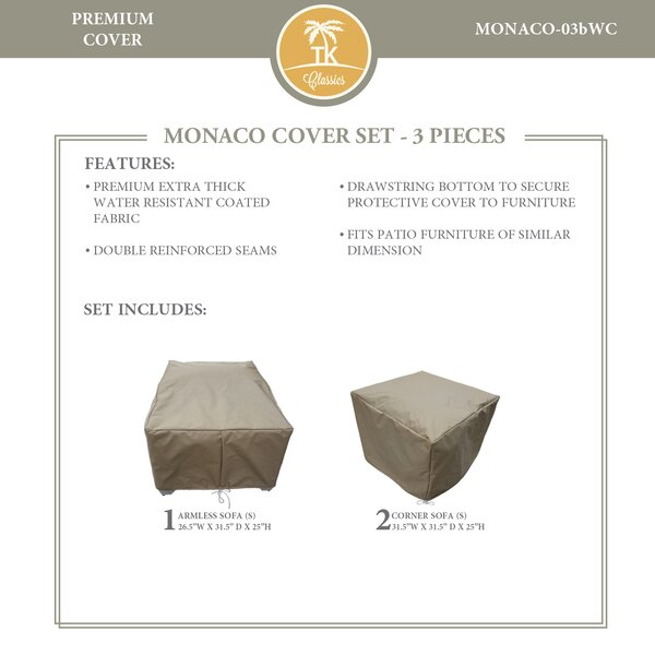 Monaco Protective 3 Piece Water Resistant Patio Furniture Cover Set by TK Classics