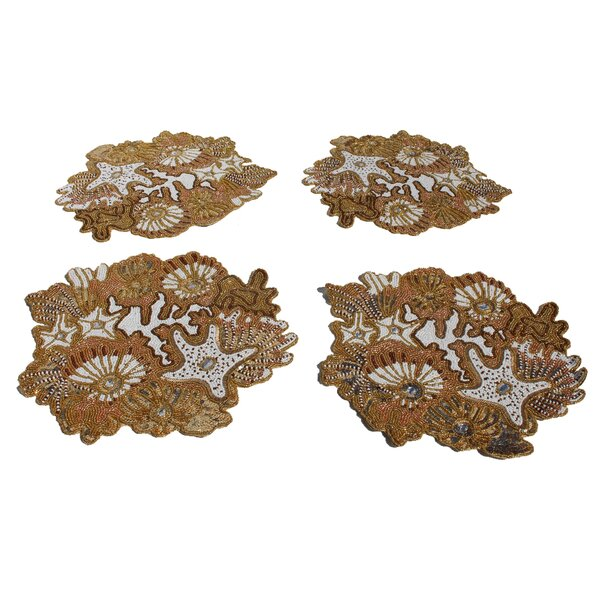 Baroque Handmade Beaded Tabletop 15 Placemat (Set of 4) by NYC Decor