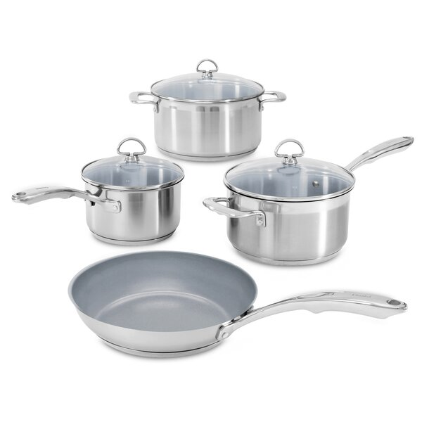 Induction 21 7 Piece Non-Stick Stainless Steel Cookware Set by Chantal