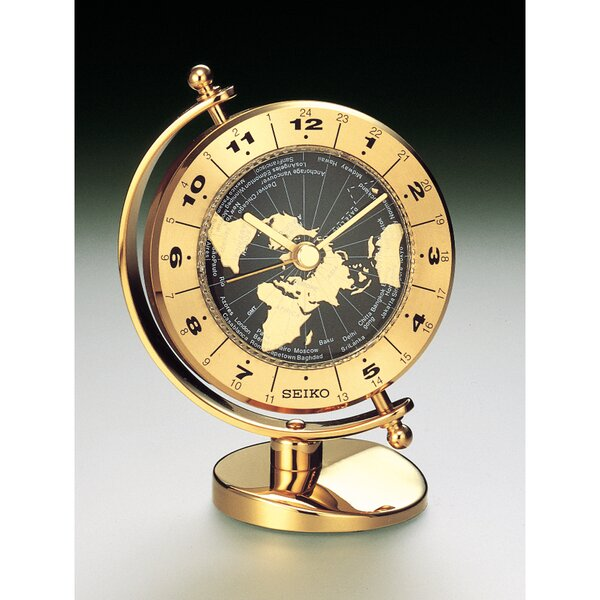 Brass Desk and Table World Time Bezel Clock by Seiko