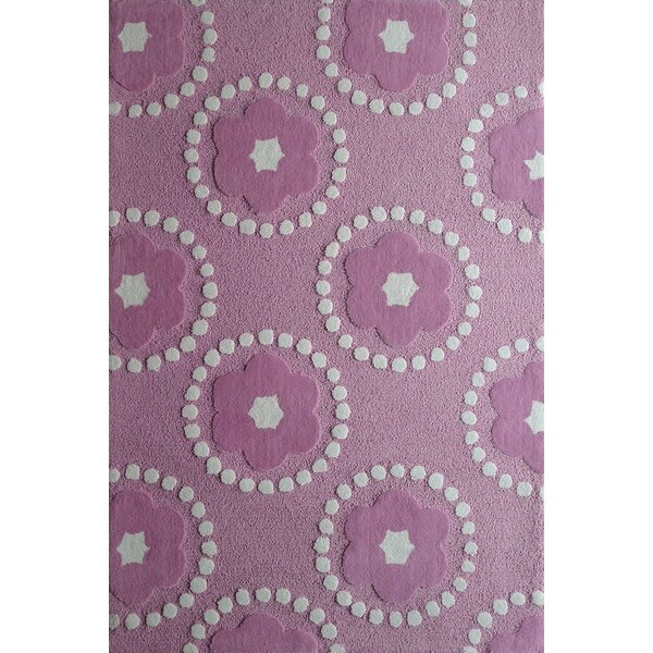 Hazeltine Hand-Tufted Pink/White Area Rug by Zoomie Kids