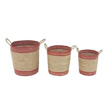 Red storage baskets