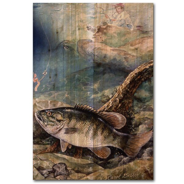 Small Mouth Bass Painting Print Plaque by WGI-GALLERY