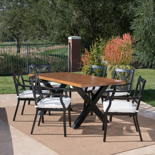 Woodburn Outdoor 7 Piece Dining Set with Cushions by Gracie Oaks