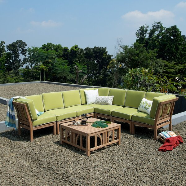 Kensington Teak Patio Sectional with Cushions by Cambridge Casual