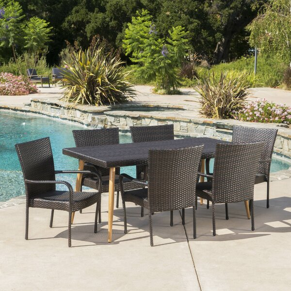 Narragansett Outdoor Wicker 7 Piece Dining Set by George Oliver