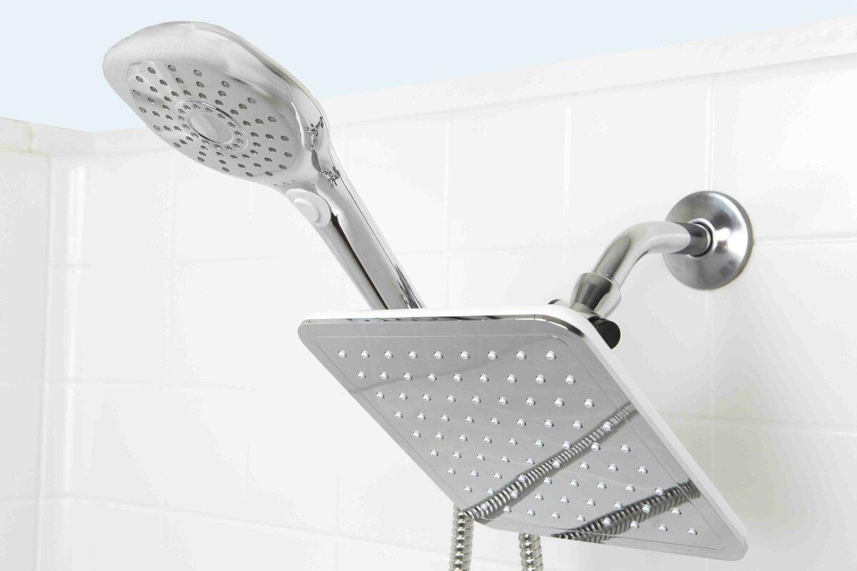 Sunbeam Plated Steel Dual Rainfall Massager Shower Head & Reviews ...