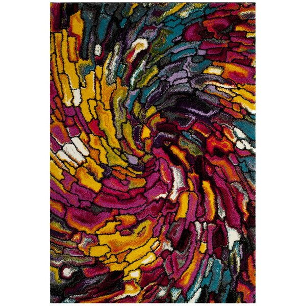 Cleveland Pink/Yellow Area Rug by Ebern Designs