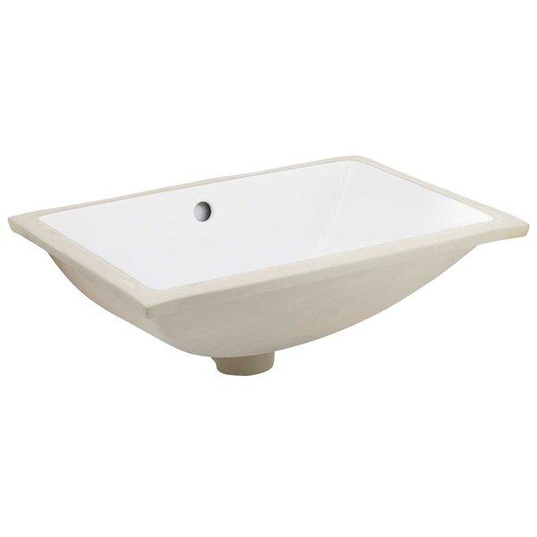 Ceramic Rectangular Undermount Bathroom Sink with Overflow by Royal Purple Bath Kitchen