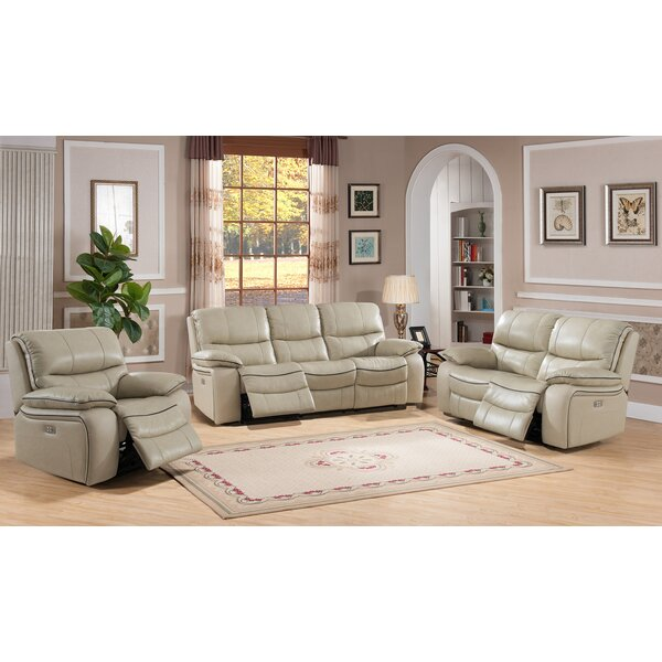 Deshaun Reclining 3 Piece Leather Living Room Set by Red Barrel Studio