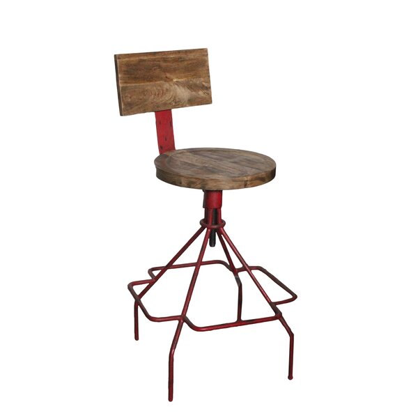Mac Adjustable Height Bar Stool by 17 Stories