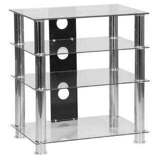 Glass 4 Shelf HiFi Tower Audio Cabinet by Ebern Designs