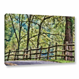 Shaded Split Rail Fence Photographic Print on Wrapped Canvas by Alcott Hill