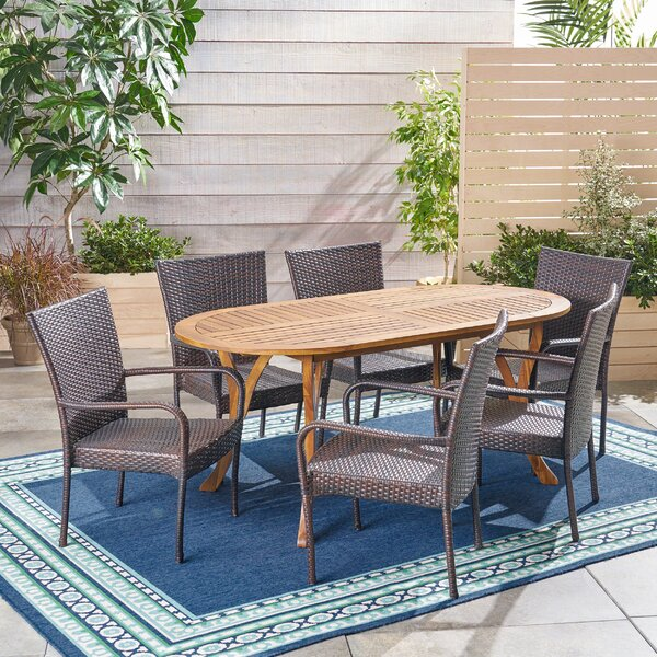 Gilley Outdoor 7 Piece Dining Set by Bungalow Rose
