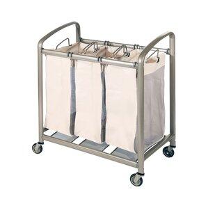 deluxe mobile 3 bag heavy duty laundry hamper sorter