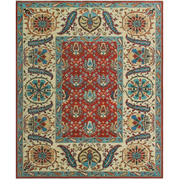 Woodmoor Hand-Knotted Wool Red/Cream Area Rug by Loon Peak