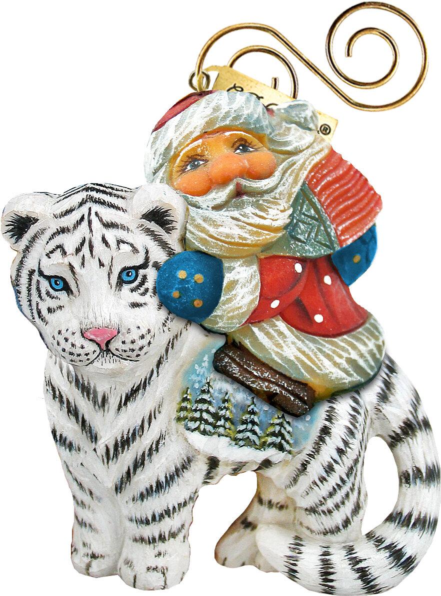 The Holiday Aisle Santa On Tiger Hanging Figurine Derevo Collection Wayfair