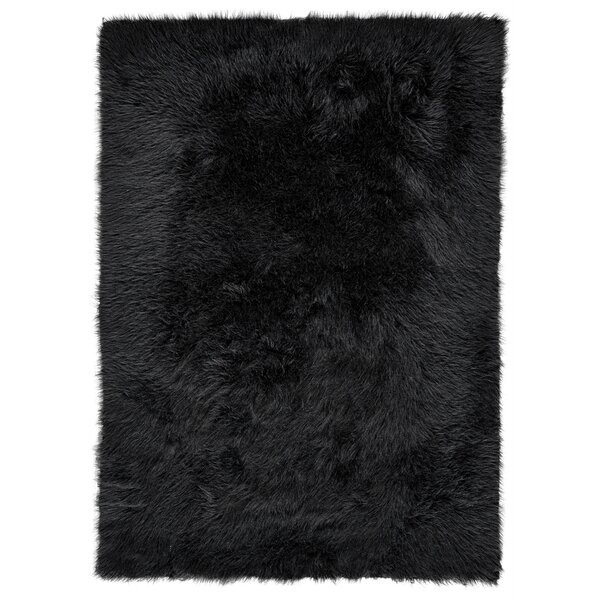 Linden Faux Fur Black Area Rug by House of Hampton