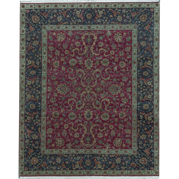 Oriental Hand-Knotted 8.2' x 10.1' Wool Red/Black Area Rug