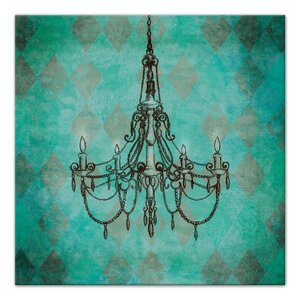 'Teal Chandelier' Graphic Art Print on Wrapped Canvas by Rosdorf Park