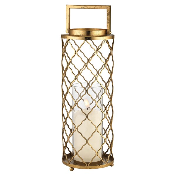 Metal and Glass Quatrefoil Hurricane Candle Holder by Mercer41