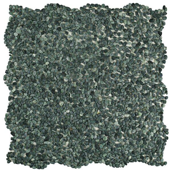 Kamyk Mini 12.25 x 12.25 Pebble Stone Mosaic Tile in Matte Green by EliteTile