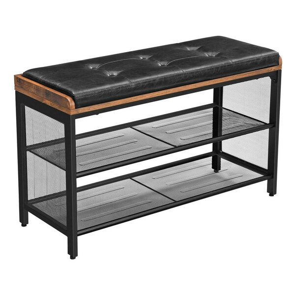 Shewmaker Faux Leather Shelves Storage Bench