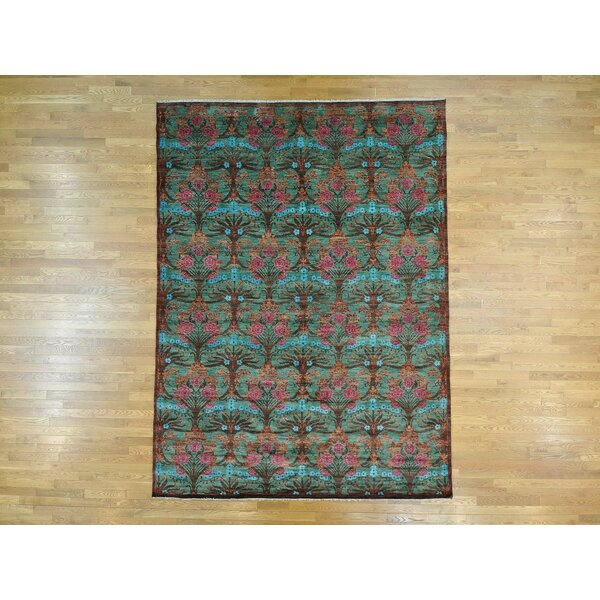 One-of-a-Kind Boisvert Handwoven Green Wool Area Rug by Isabelline