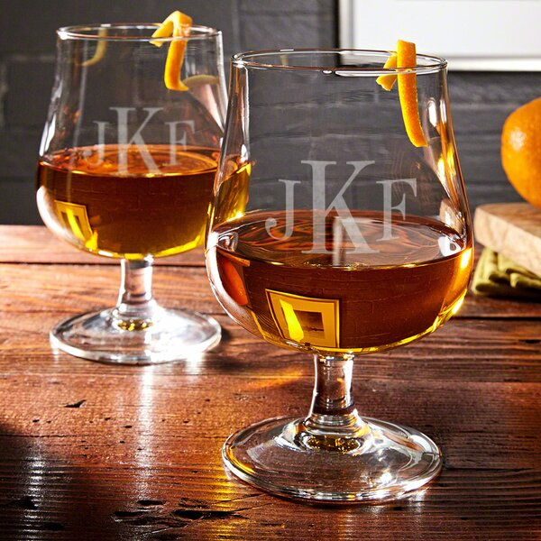 Blackwood Personalized 15 oz. Hurricane Glass (Set of 2) by Home Wet Bar