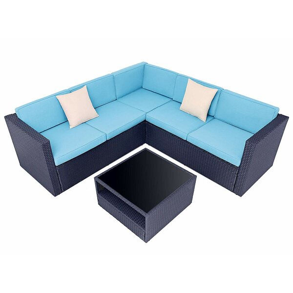 Park Ridge 4 Piece Sectional Seating Group with Cushions by Highland Dunes