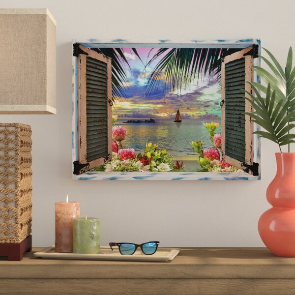 Tropical Window To Paradise Iii Graphic Art Print On Wrapped Canvas By Bay Isle Home.