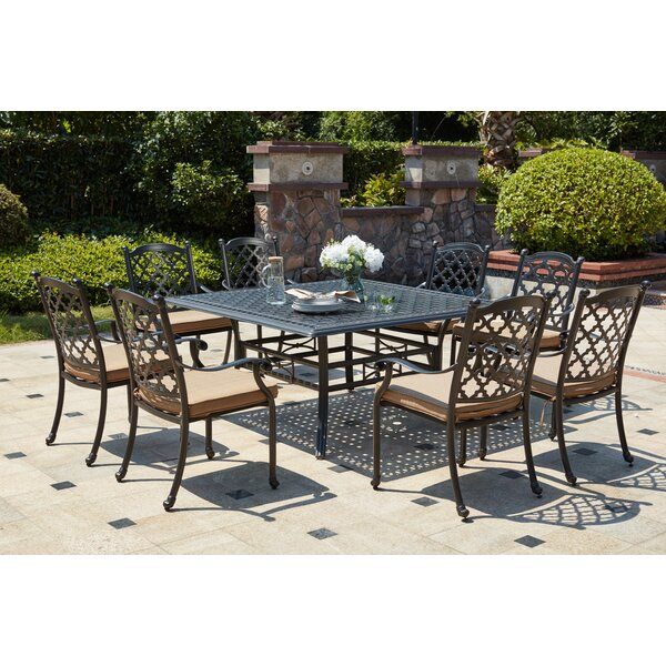 Waconia Traditional 9 Piece Metal Frame Dining Set with Cushions by Darby Home Co