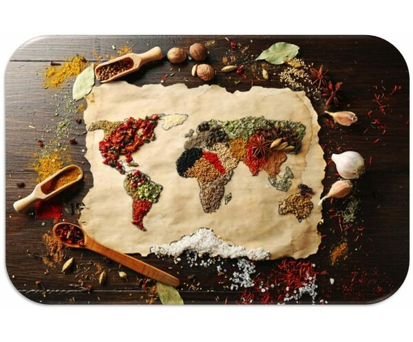 Spice Map Print Slip-Resistant Foam 19 Placemat (Set of 8) by Dainty Home