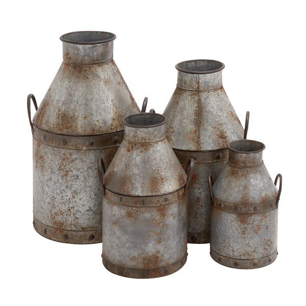 4 Piece Metal Decorative Bottle Set by Cole & Grey