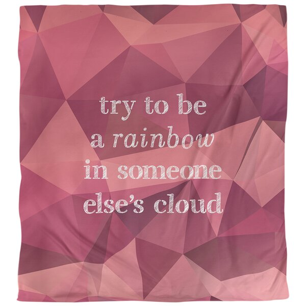 Quotes Faux Gemstone Try To Be A Rainbow Single Reversible Duvet Cover