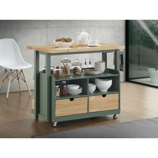Runyan Dual Tone Kitchen Cart by Canora Grey