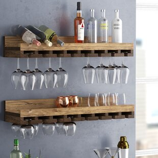 Bernardo Rustic Luxe Tiered Wall Mounted Wine Glass Rack (Set of 2) : wall mounted wine rack cabinet - Cheerinfomania.Com