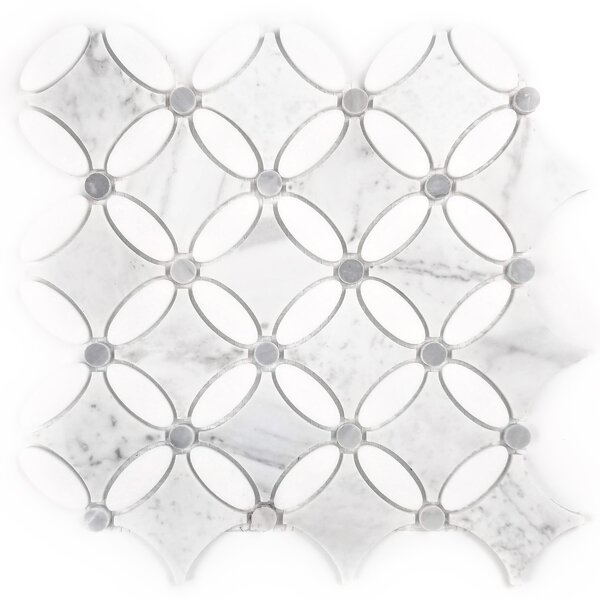 Tuscany Oval Random Sized Marble Mosaic Tile in White by Abolos