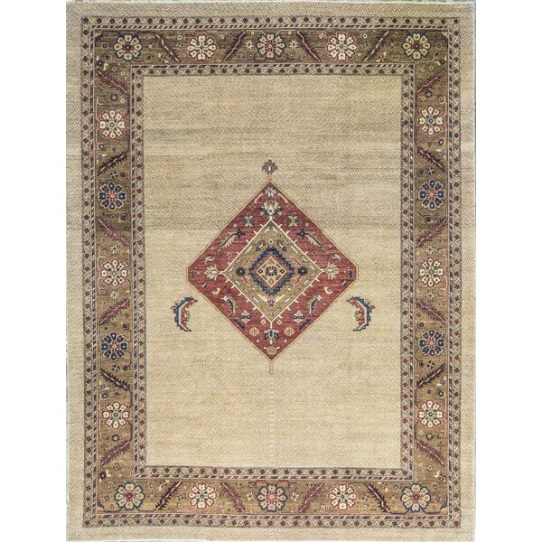 One-of-a-Kind Handwoven Wool Ivory/Brown Indoor Area Rug