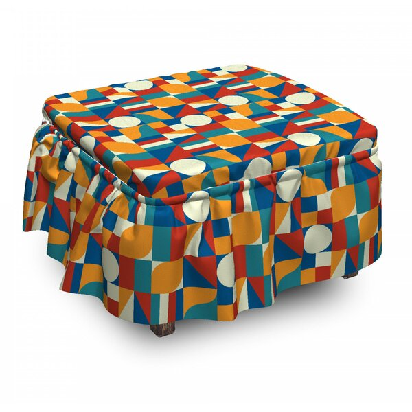 Geometric Art Ottoman Slipcover (Set Of 2) By East Urban Home