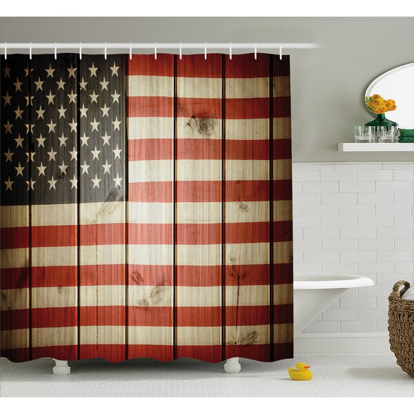 Vertical Striped Flag Decor Shower Curtain by East Urban Home
