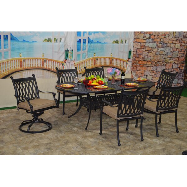 Brittani 7 Piece Sunbrella Dining Set with Cushions by Fleur De Lis Living