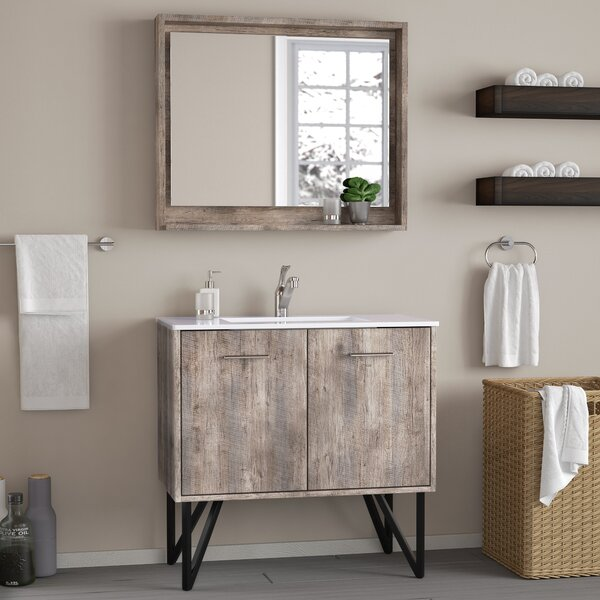 Ellison Nature Wood 36 Single Bathroom Vanity Set with Mirror by Union Rustic