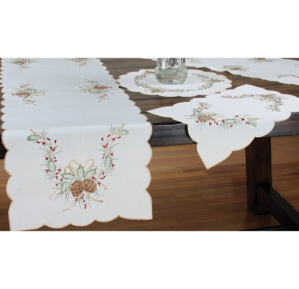 Classic Pine Cone Embroidered Table Runner by Xia Home Fashions