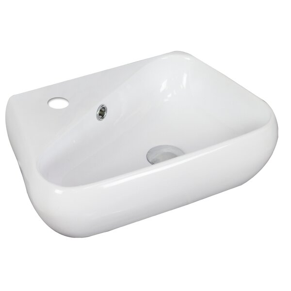 Ceramic 18 Wall Mount Bathroom Sink with Overflow by American Imaginations